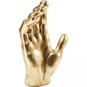 Statue déco main dorée