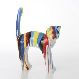 statue chat coloré
