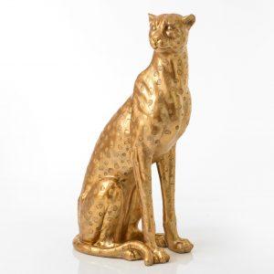 statue guépard doré