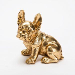 Statue bouledogue doré